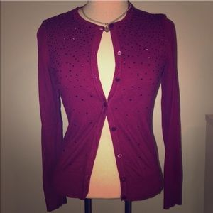 Jeweled cardigan wine color size small long sleeve